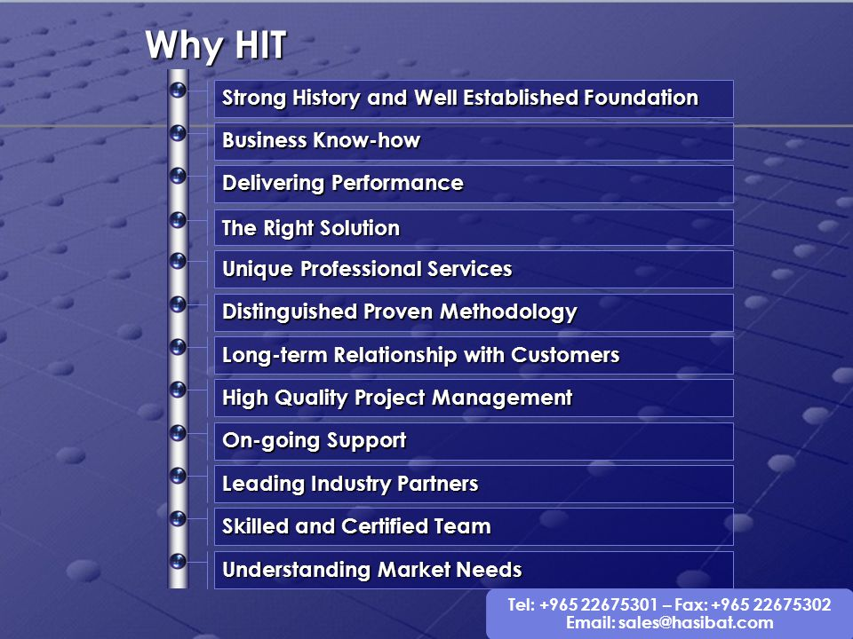 Why HIT Strong History and Well Established Foundation