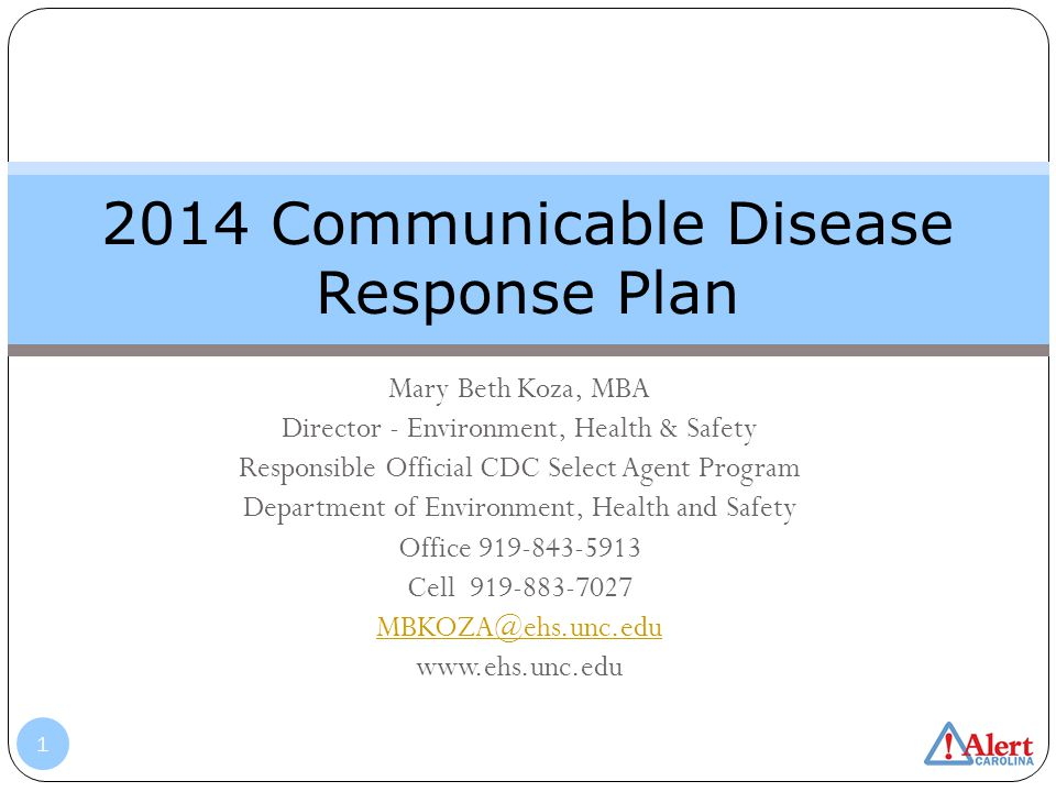 2014 Communicable Disease Response Plan