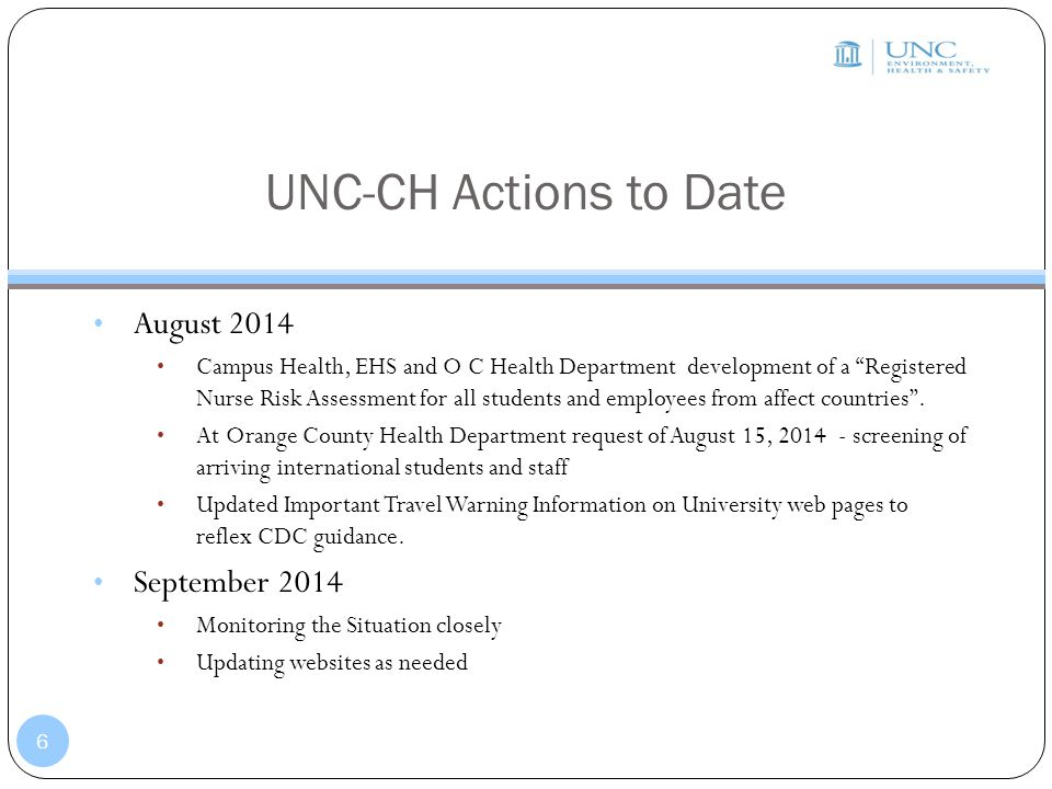 UNC-CH Actions to Date August 2014 September 2014