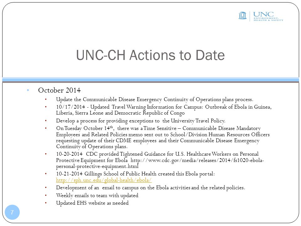 UNC-CH Actions to Date October 2014