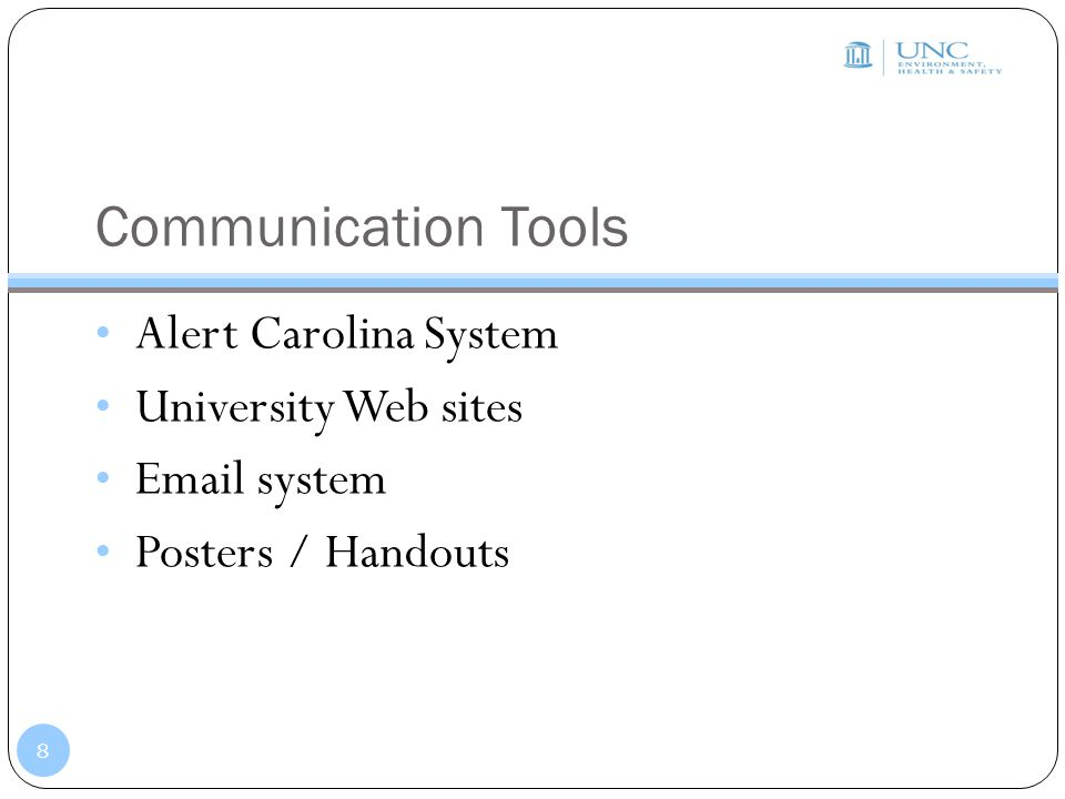 Communication Tools Alert Carolina System University Web sites