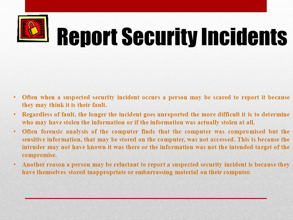 Report Security Incidents