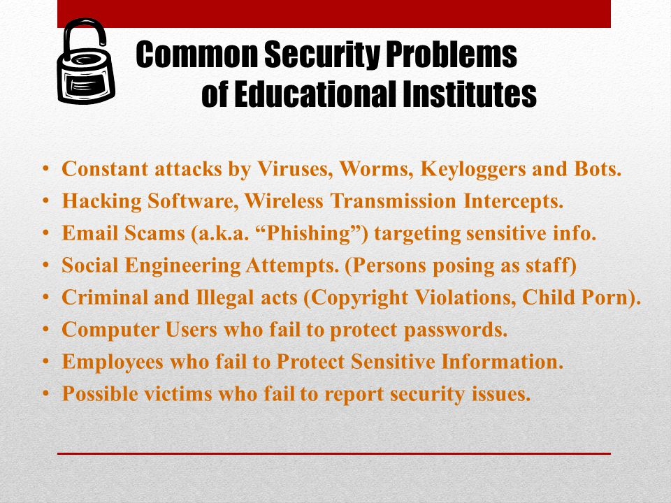 Common Security Problems of Educational Institutes