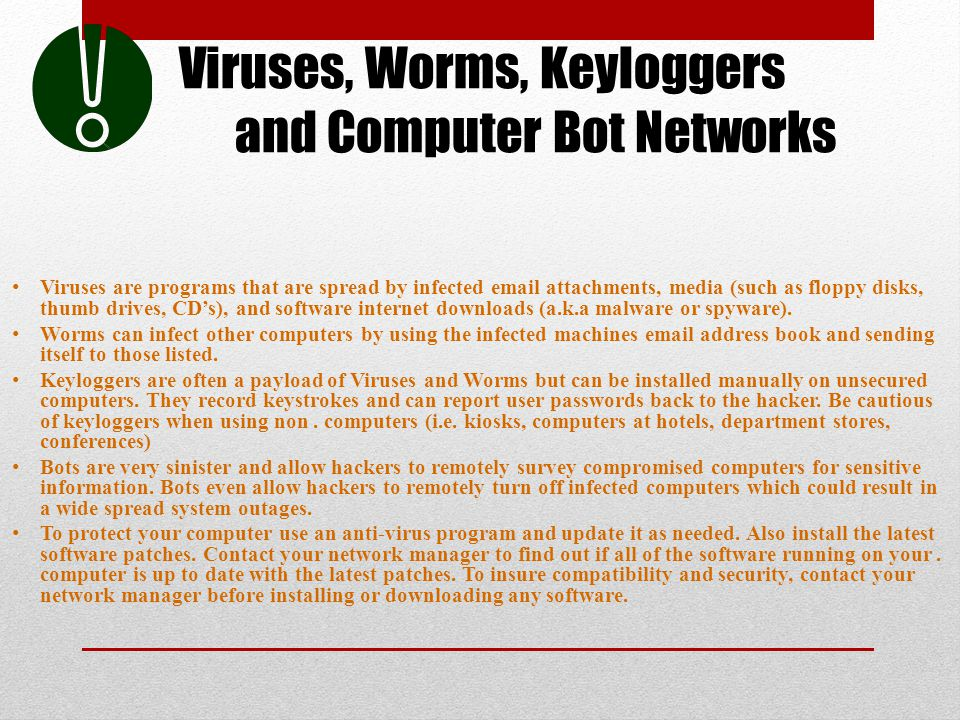 Viruses, Worms, Keyloggers and Computer Bot Networks