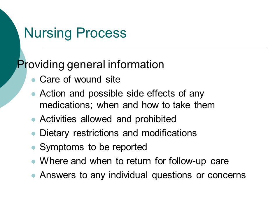 Nursing Process Providing general information Care of wound site
