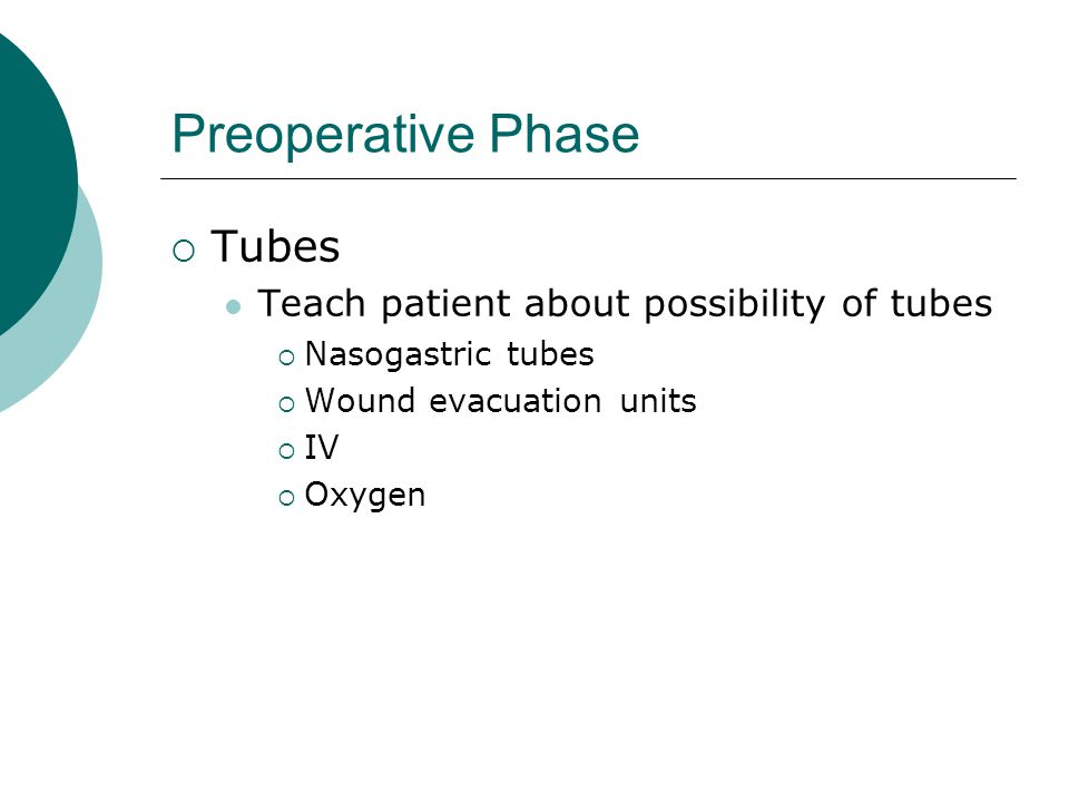 Preoperative Phase Tubes Teach patient about possibility of tubes
