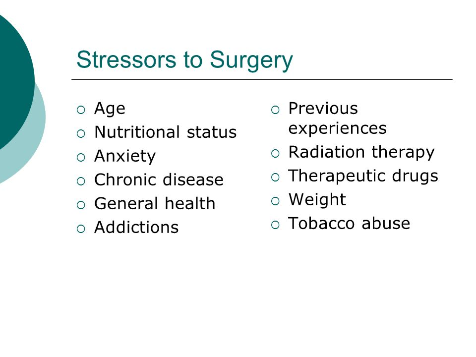 Stressors to Surgery Age Nutritional status Anxiety Chronic disease