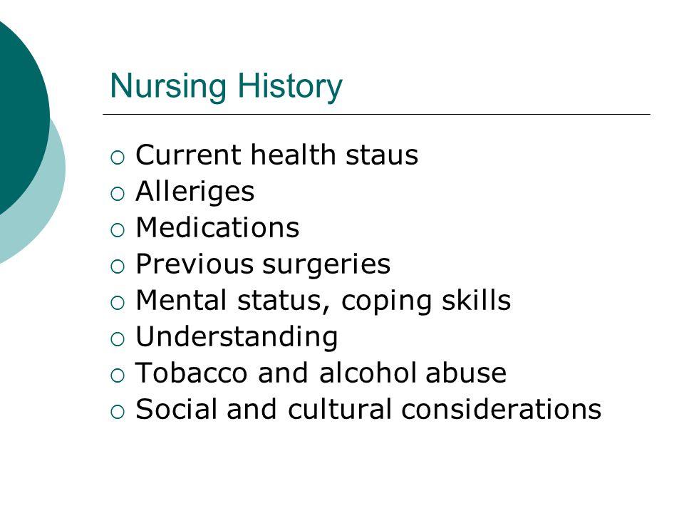 Nursing History Current health staus Alleriges Medications