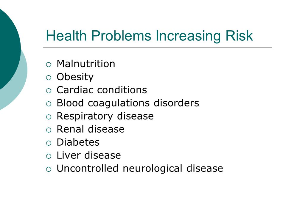 Health Problems Increasing Risk