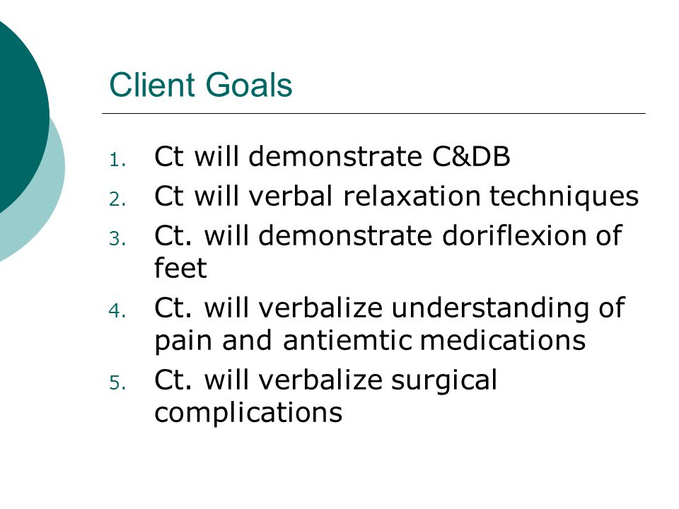 Client Goals Ct will demonstrate C&DB