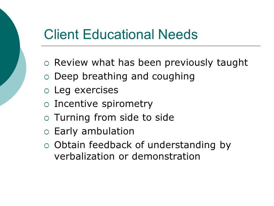 Client Educational Needs