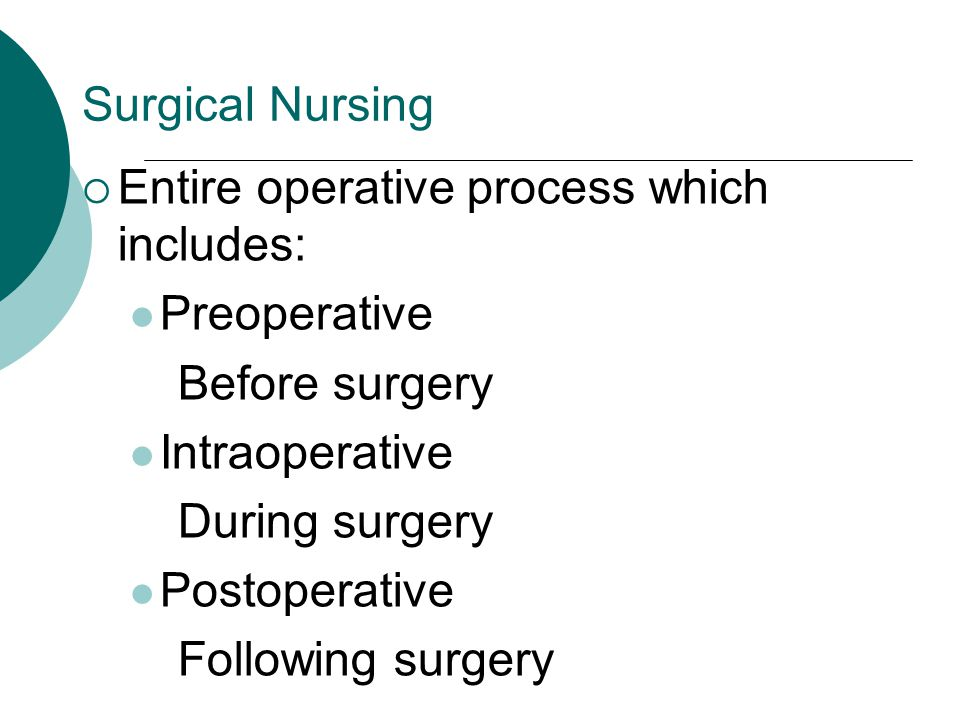 Surgical Nursing Entire operative process which includes: Preoperative. Before surgery. Intraoperative.