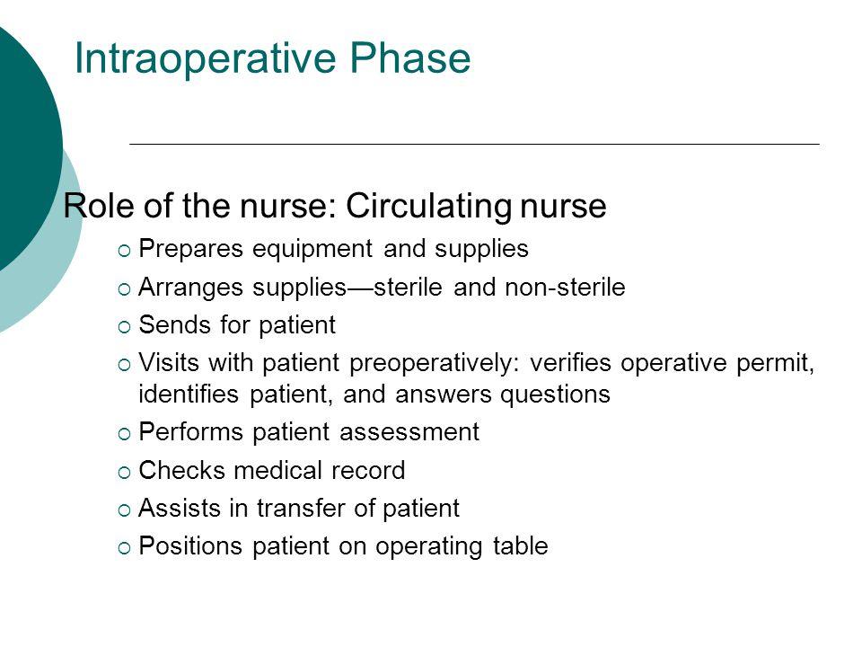 Intraoperative Phase Role of the nurse: Circulating nurse