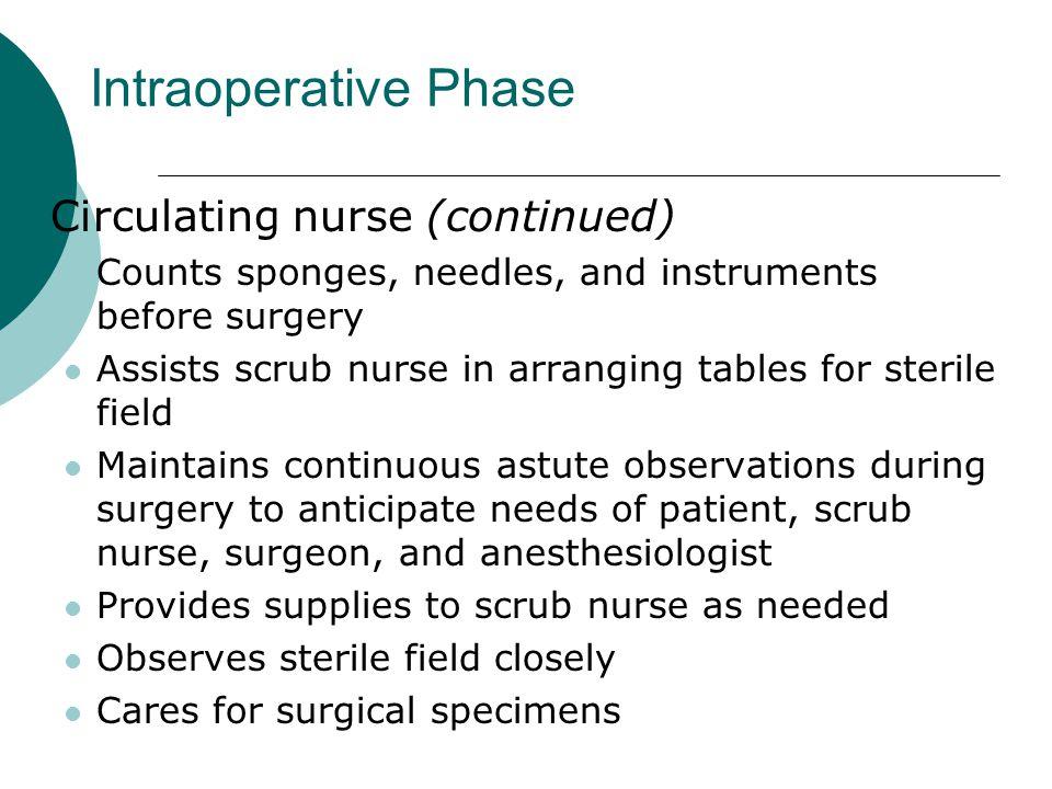 Intraoperative Phase Circulating nurse (continued)