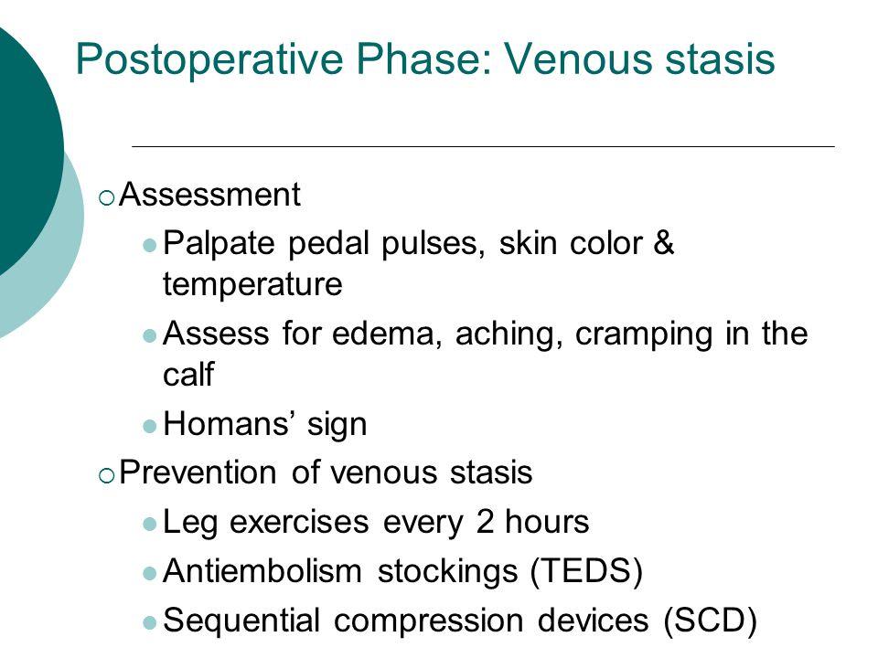 Postoperative Phase: Venous stasis