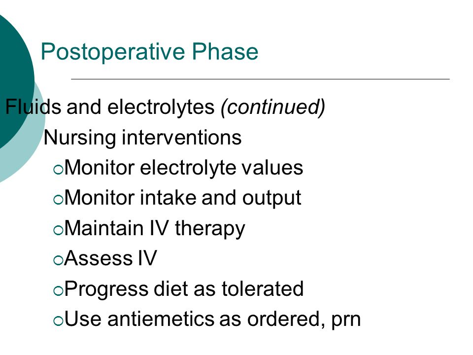 Postoperative Phase Fluids and electrolytes (continued)