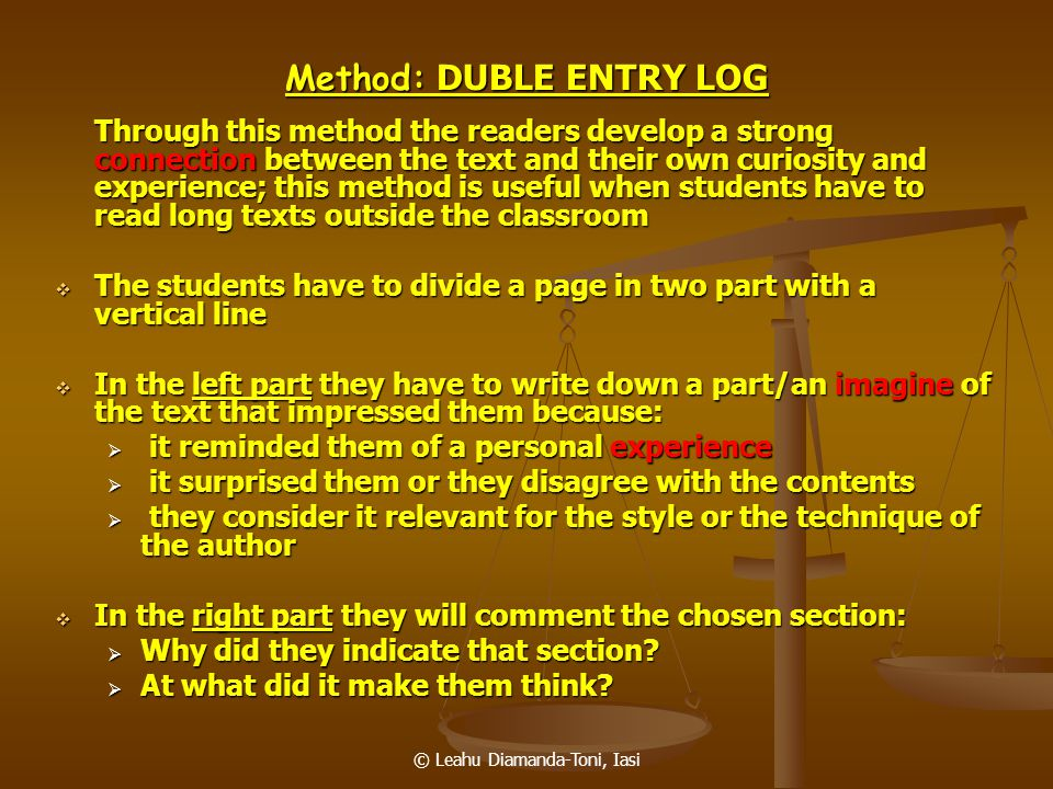 Method: DUBLE ENTRY LOG