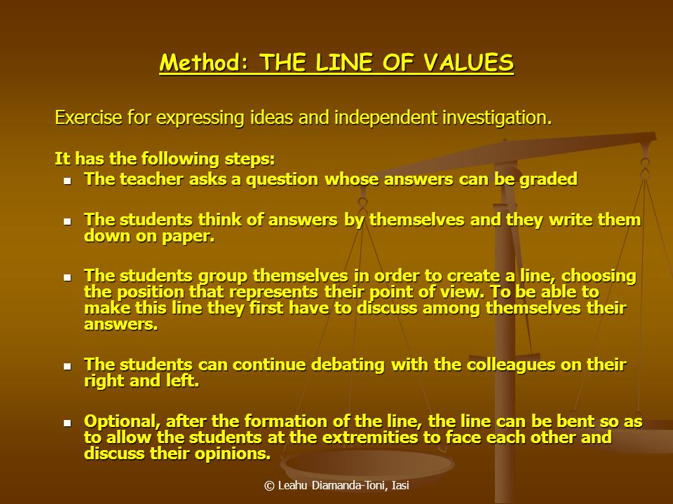 Method: THE LINE OF VALUES