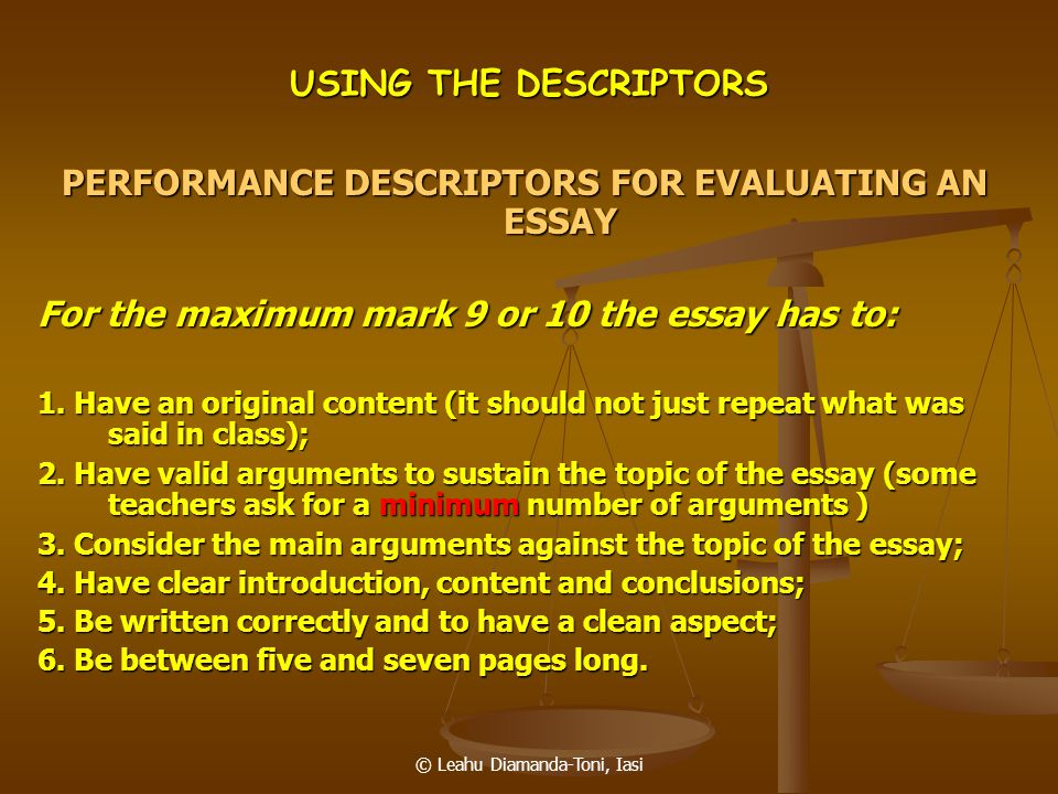 PERFORMANCE DESCRIPTORS FOR EVALUATING AN ESSAY