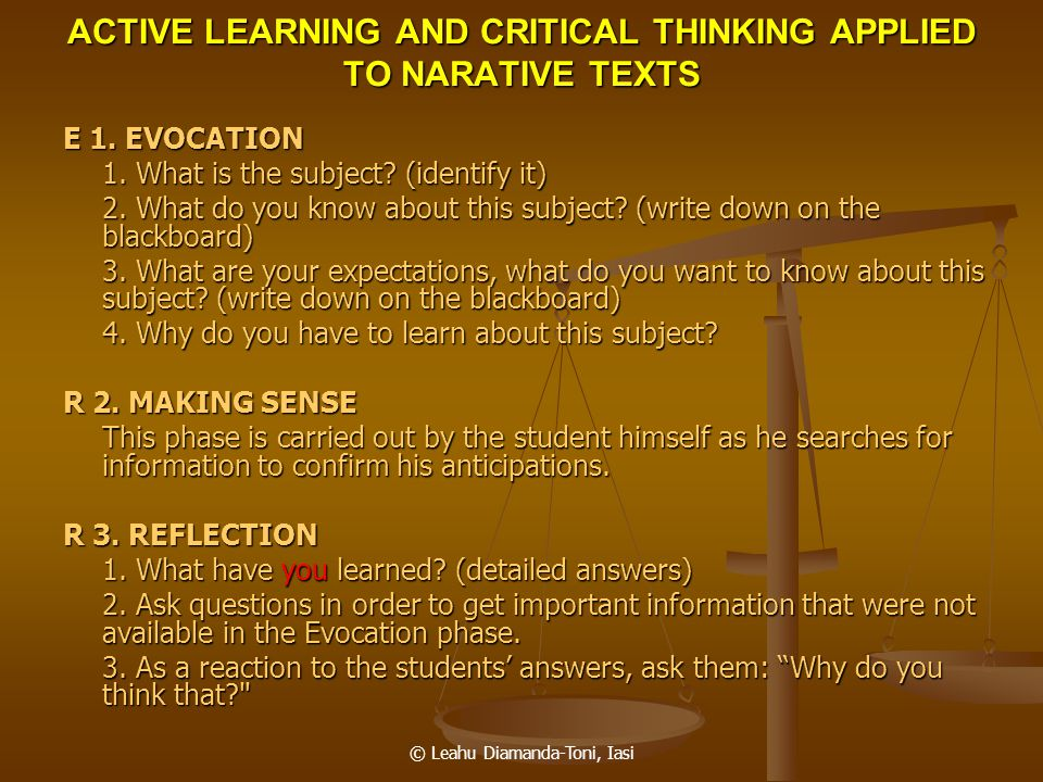 ACTIVE LEARNING AND CRITICAL THINKING APPLIED TO NARATIVE TEXTS
