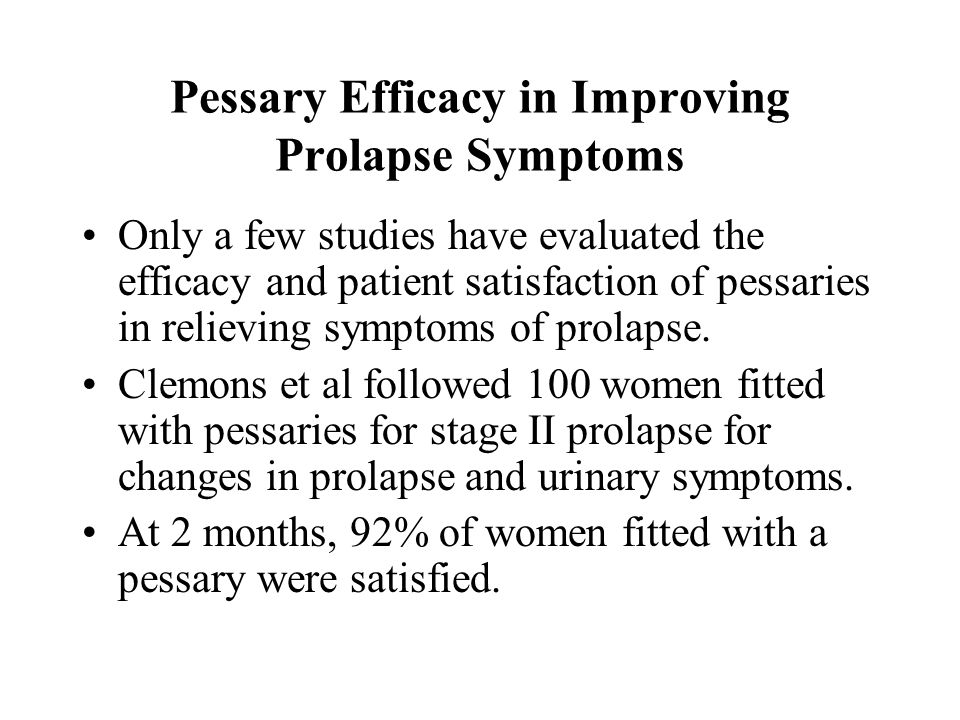Pessary Efficacy in Improving Prolapse Symptoms
