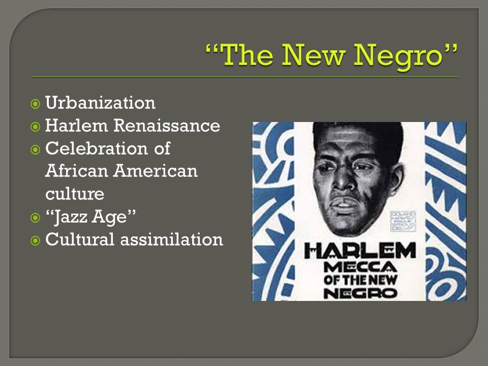 The New Negro Urbanization Harlem Renaissance