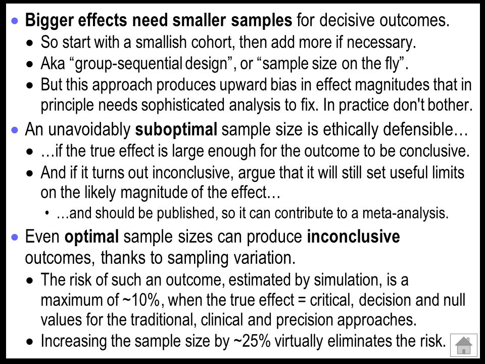 Bigger effects need smaller samples for decisive outcomes.