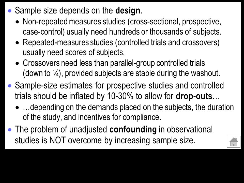 Sample size depends on the design.