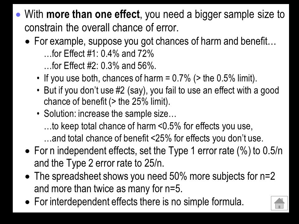 With more than one effect, you need a bigger sample size to constrain the overall chance of error.