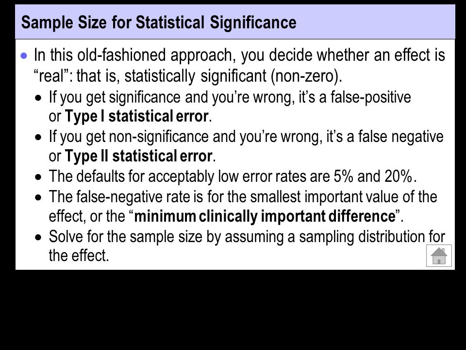 Sample Size for Statistical Significance