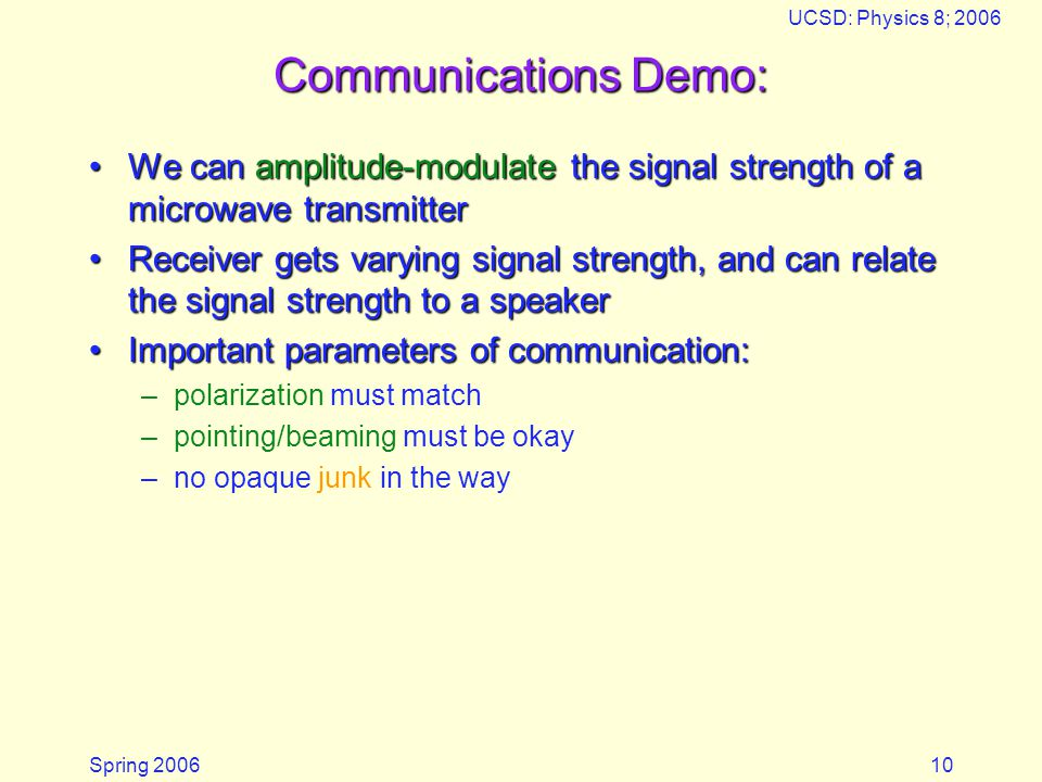 Microwaves 05/18/2006. UCSD: Physics 8; 2006. Communications Demo: We can amplitude-modulate the signal strength of a microwave transmitter.