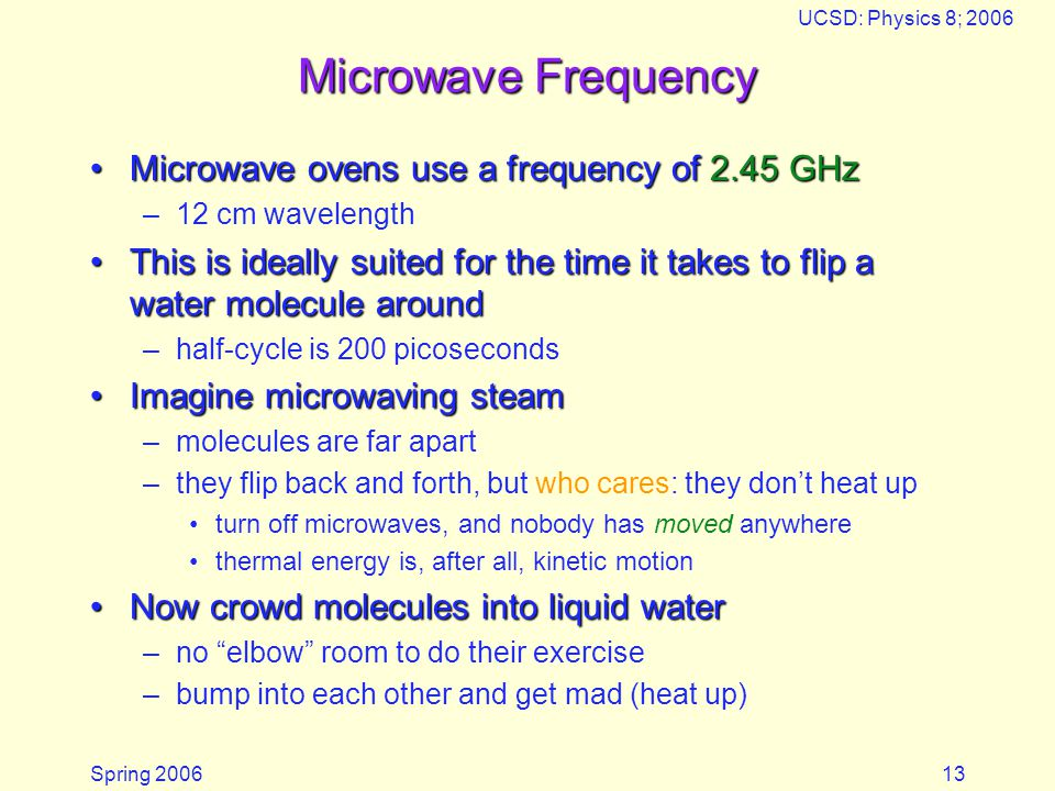 Microwave Frequency Microwave ovens use a frequency of 2.45 GHz