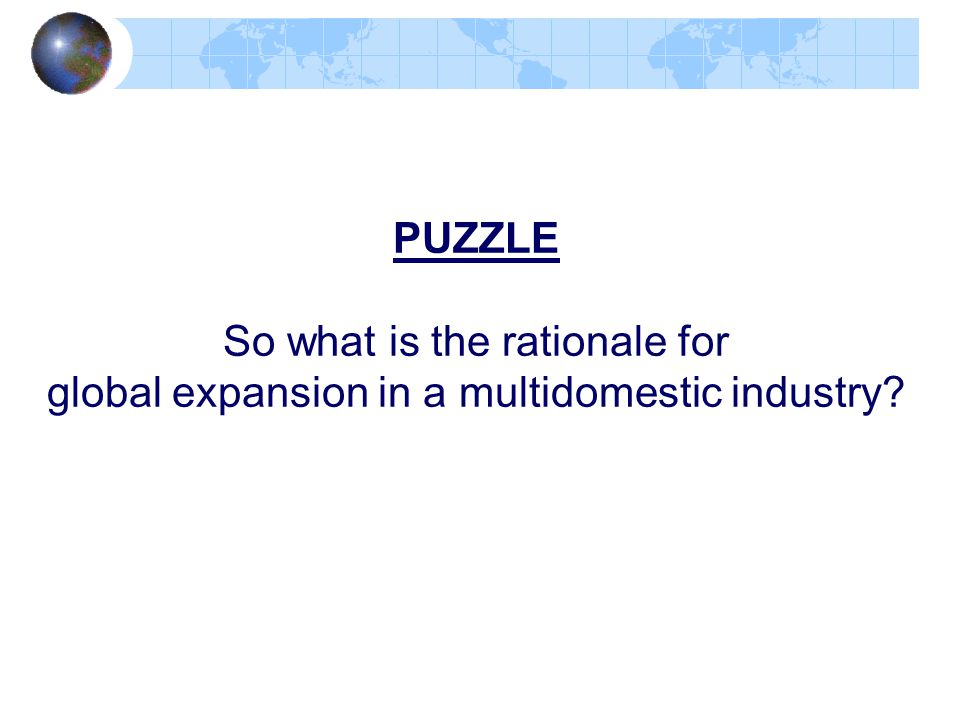 PUZZLE So what is the rationale for