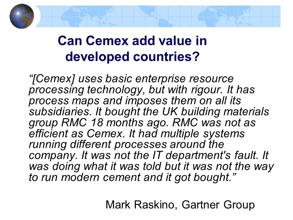 Can Cemex add value in developed countries