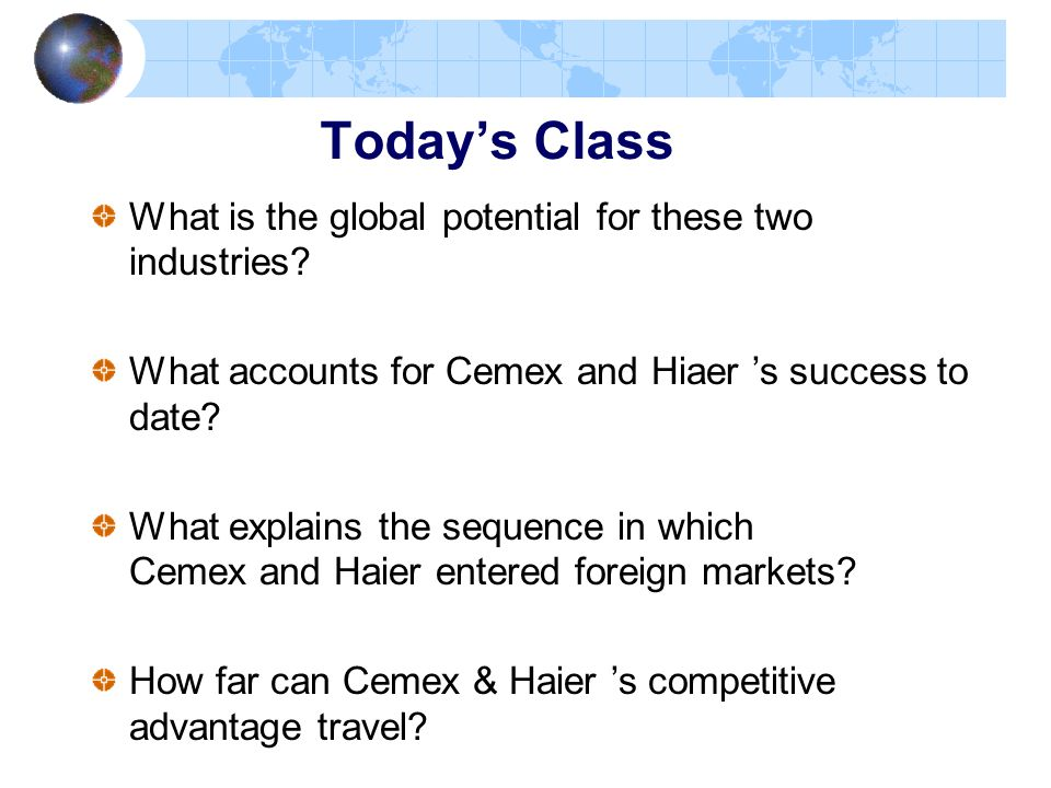 Today's Class What is the global potential for these two industries