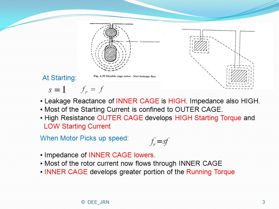 Leakage Reactance of INNER CAGE is HIGH. Impedance also HIGH.