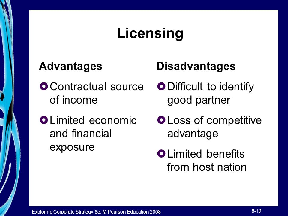 Licensing Advantages Contractual source of income
