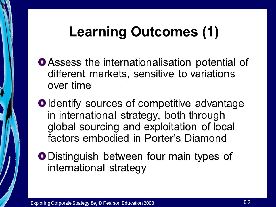 Learning Outcomes (1) Assess the internationalisation potential of different markets, sensitive to variations over time.