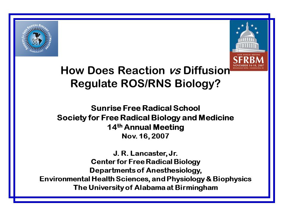How Does Reaction vs Diffusion Regulate ROS/RNS Biology