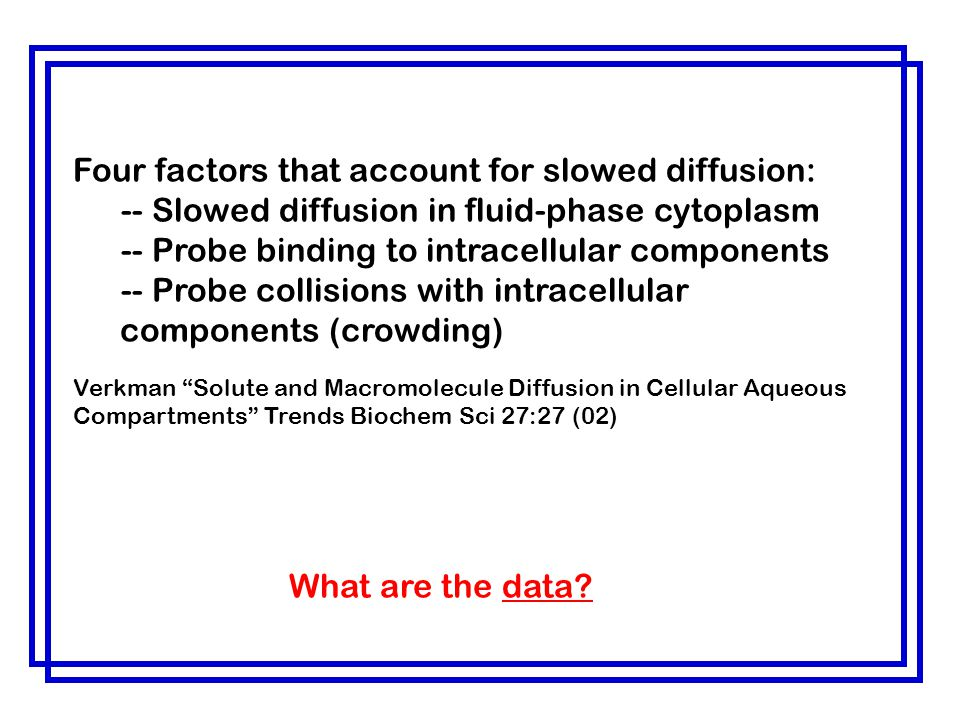 Four factors that account for slowed diffusion: