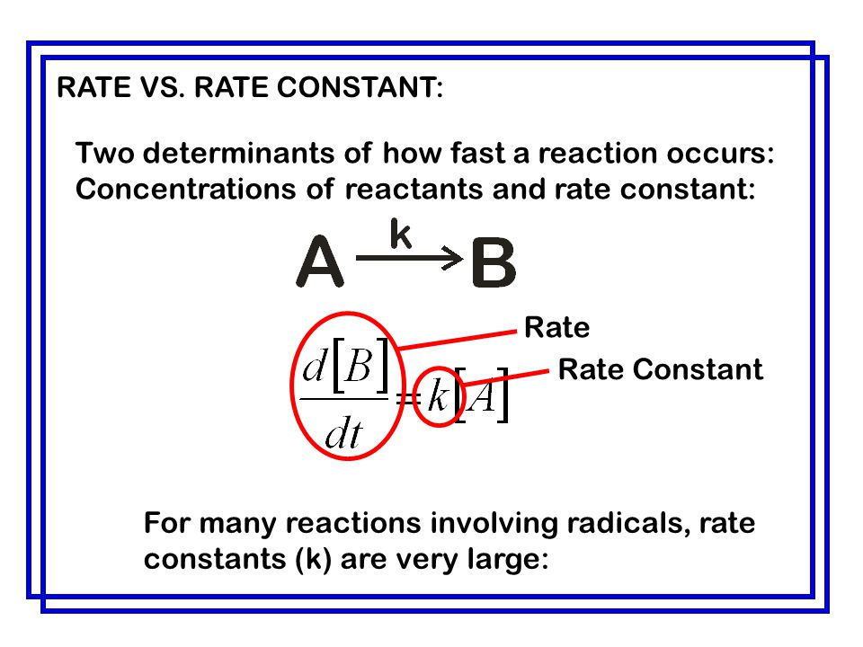 RATE VS. RATE CONSTANT: Two determinants of how fast a reaction occurs: Concentrations of reactants and rate constant: