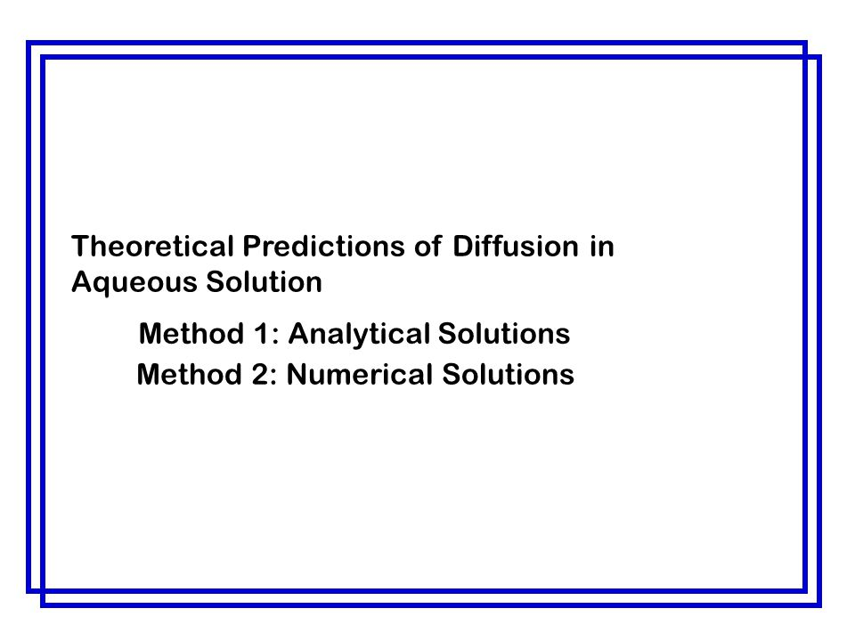Theoretical Predictions of Diffusion in Aqueous Solution