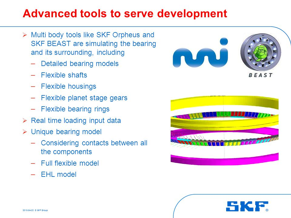 SKF quiet running bearing for wind turbine generator
