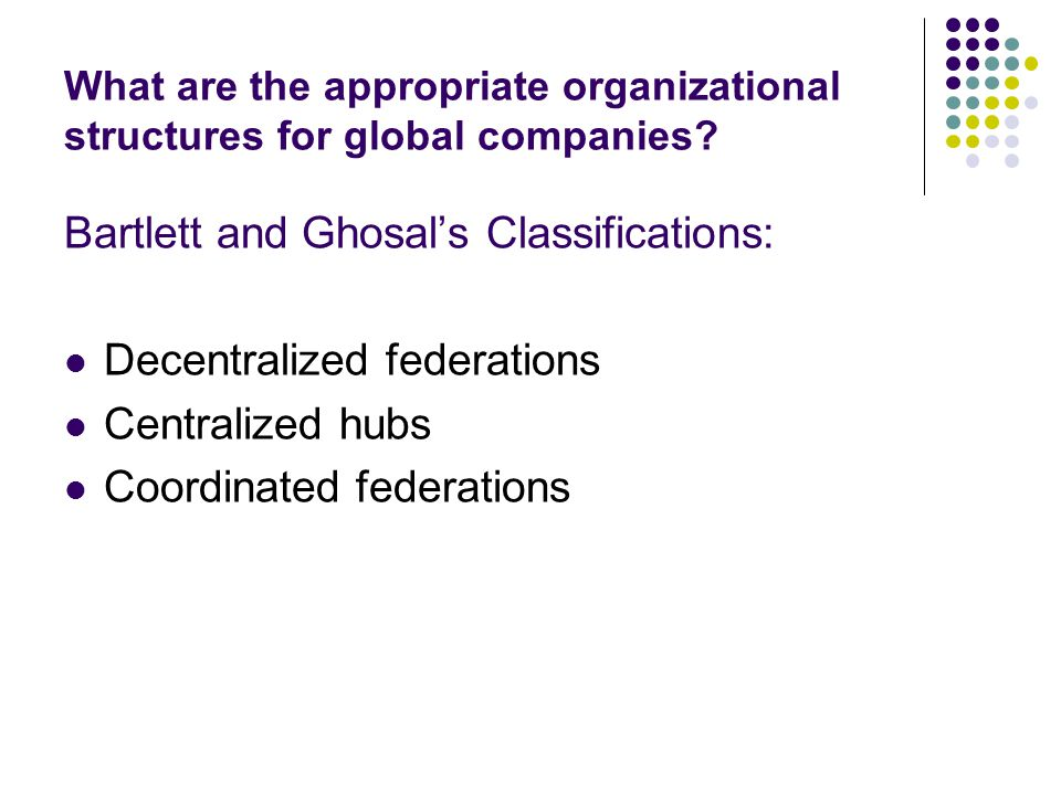 Bartlett and Ghosal's Classifications: Decentralized federations