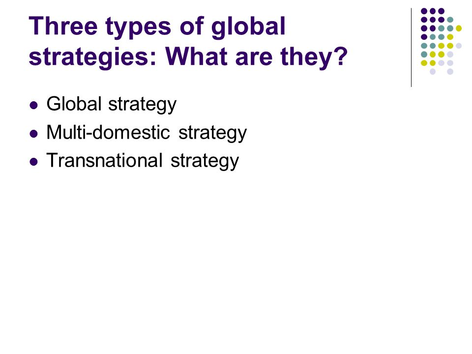 Three types of global strategies: What are they