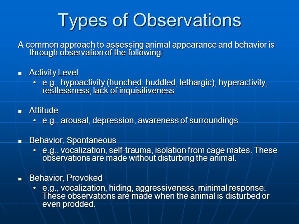 Types of Observations A common approach to assessing animal appearance and behavior is through observation of the following: