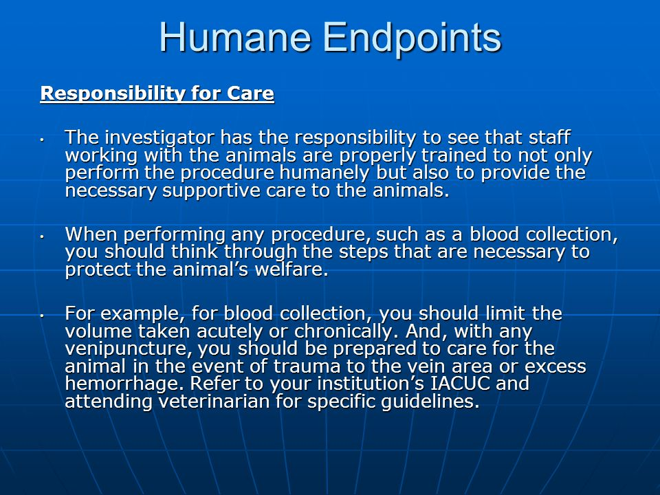 Humane Endpoints Responsibility for Care