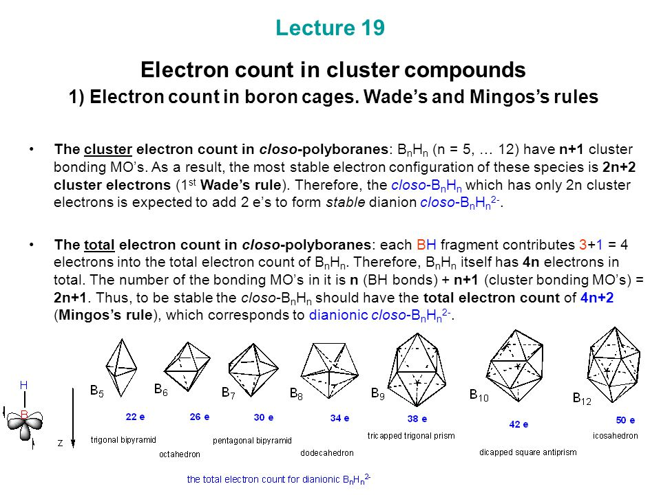 Lecture 19 Electron count in cluster compounds 1) Electron count in boron cages. Wade's and Mingos's rules