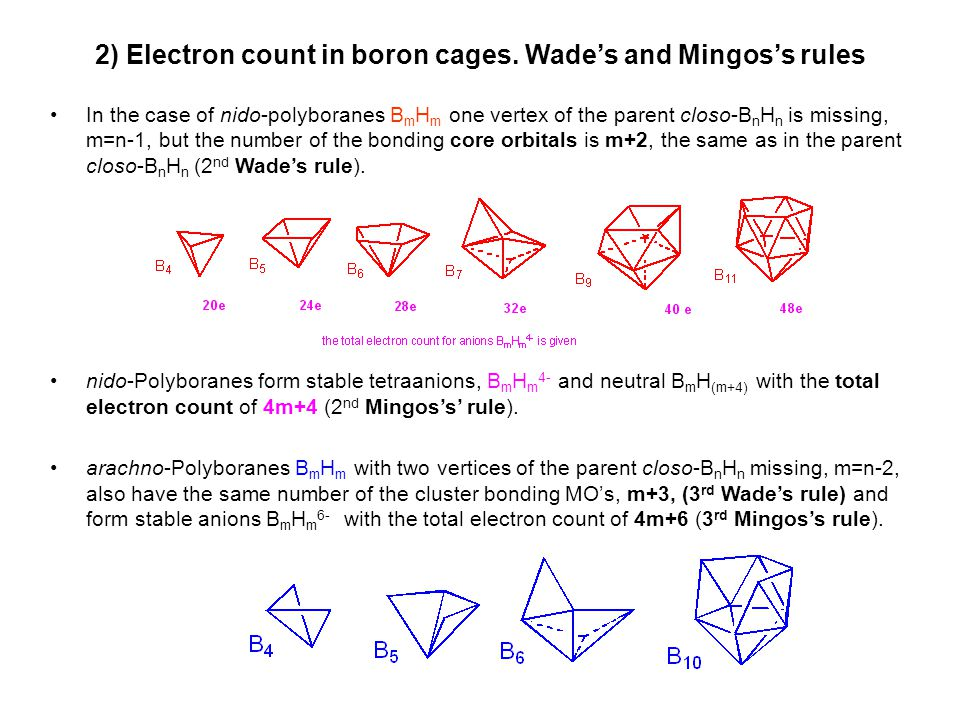 2) Electron count in boron cages. Wade's and Mingos's rules