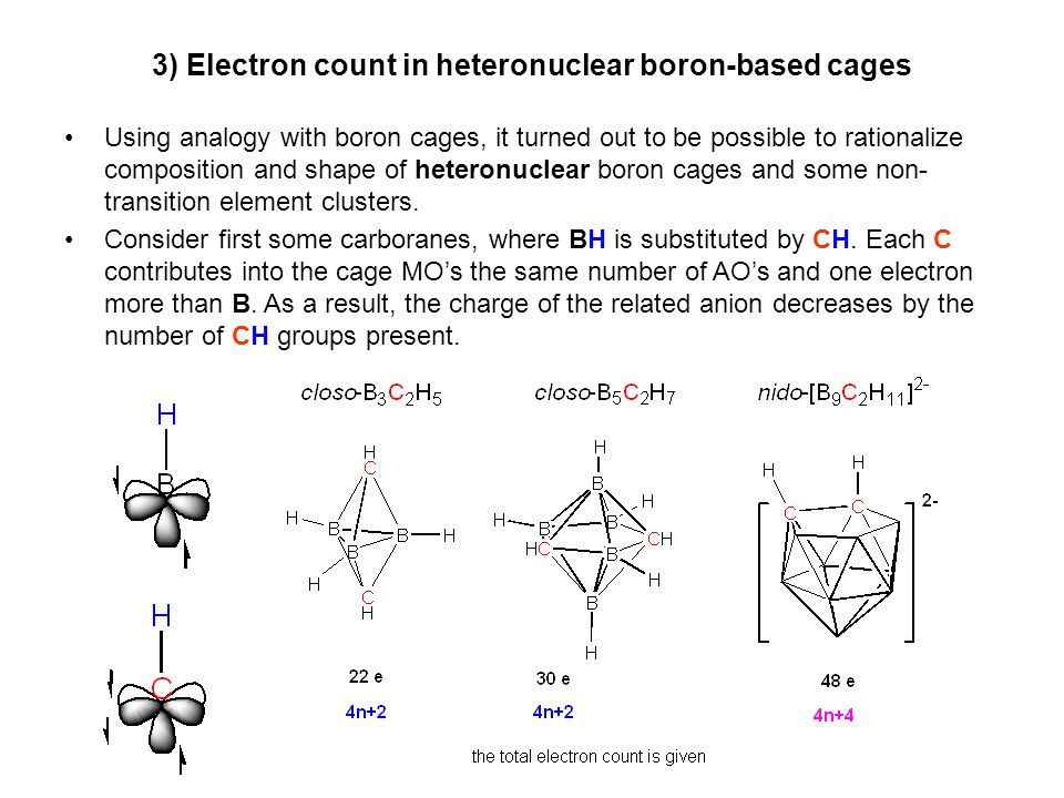 3) Electron count in heteronuclear boron-based cages
